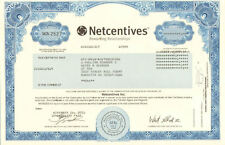 Netcentives Inc.   dot-com bubble internet stock certificate share