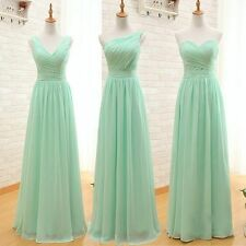 Mint Green Bridesmaid Dresses Chiffon Ruched Prom Party Dresses US 2-16
