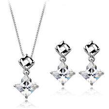 Fashion Jewelry - 18K White Gold Plated Square CZ Set (FS054)
