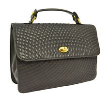 Authentic BALLY Logos Quilted Hand Bag Gray Gold Leather Italy Vintage V00554