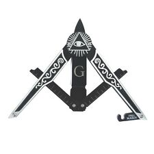 Black Masonic Folding Square&Compasses Pocket Knife All Seeing Eye Mason Symbol