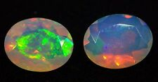 2 stones 1.91 ct Fine Natural 9x7 mm Faceted Oval Ethiopian OPAL