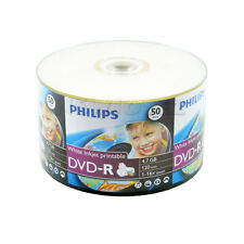 50 Pack Philips Blank 16x White Inkjet Hub Printable DVD-R Disc For Video Movie