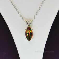 10x5 Marquise Mango Mystic Topaz Sterling Silver Necklace 2.1cts