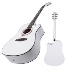 New 41 Inch Adult Size Cutaway 6 Strings Acoustic Guitar White