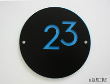 Modern House Numbers, Round Black & Blue Acrylic - Sign Plaque - Door Number1