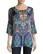 NWT $240 Johnny Was 100% SILK Malakye Dolman-Sleeve Floral Tunic Top Blouse 1X