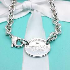 Return to Tiffany & Co. Oval Tag Chain Necklace Choker Silver Box & Pouch #168