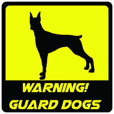 """#883 3.75"""" (1) Beware of Dog Decal Sticker Guard Dog Decal LAMINATED YELLOW"""