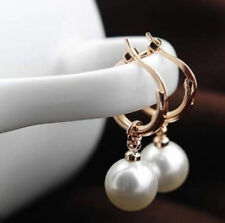 18K Rose Gold GP Hoop Earrings White Pearls Swarovski Crystals Jewellery New