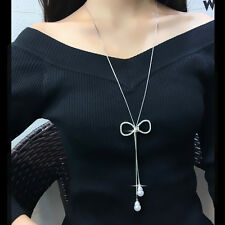 Hollow bow pendant pearl fringed long necklace UK seller