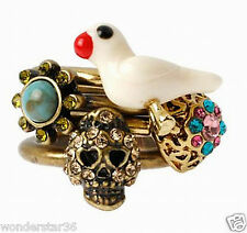 Nwt Betsey Johnson Skull Dove Heart Stack Ring 4 Rings Turqs Caicos Size 7 $55