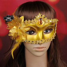 Gold Lace Flower Venetian Halloween Masquerade Ball Carnival Eye Masks For Party