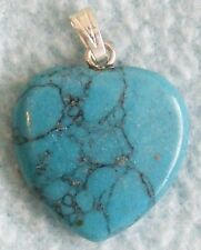 Beautiful Semi-Precious GEMSTONE Heart PENDANT - Blue Agate - NEW