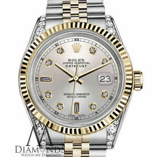 Rolex 31mm Datejust Two-Tone Silver 8+2 Diamond Numbers 18K Bezel Diamond Arms