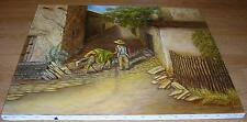 SPAIN SPANISH VILLA BOTANICAL GARDEN ROSE DONKEY LANDSCAPE ORIGINAL OIL PAINTING