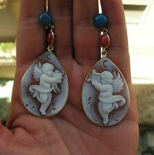 SUPERB ANTIQUE STYLE CAMEO EARRINGS 925 CARVED SHELL CAMEO NATURAL Cherub Angel