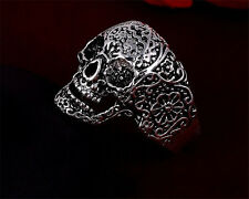 Punk Men's 316L Stainless Steel Rings flower skull design Jewelry US Size11