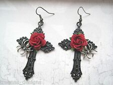 *SILVER SPIDER BLACK CROSS RED ROSE* Large Gothic Earrings Halloween NEW