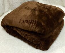 "Ultra Soft Velvet Silky Sherpa Borrego Reversible 2ply Blanket Cafe Twin 66""X90"""