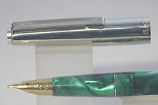 Wing Sung No. 237 Extra Fine Fountain Pen, Green Marble with Chrome Plated Trim