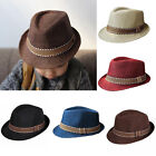 Fashion Boys Girls Kids Straw Fedora Trilby Panama Jazz Hat Cap Cuban Style Cap