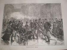 Jour de noël sports à versailles france 1871 old print ref Z3 patin à glace