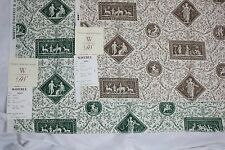 """2 WAVERLY Rosetti Fabric Pieces Green Brown Toile Vintage 1990s samples 27"""""""