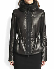 NEW $2490 AKRIS Punto 10  Lamb Quilted Leather Zip Puffer Parka Coat Black