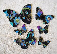 BUTTERFLY APPLIQUES PURPLE,BLUE,GOLD METALLIC, BLACK FABRIC IRON ON  SET 6 #114