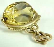 Antique 9ct hallmarked yellow gold swivel watch fob with faceted citrine