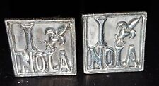 "Square Sterling Silver Cuff Links with ""I"" Fleur De Lis Symbol ""NOLA"" by LetyG B"