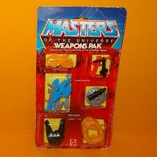 VINTAGE 1983 MATTEL MASTERS OF THE UNIVERSE MOTU HE-MAN WEAPONS PAK MOC CARDED