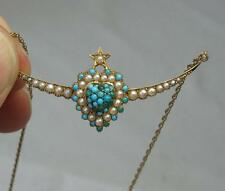 Persian Turquoise Heart Necklace 15CT Gold Pearl c1880 Victorian Belle Epoque