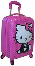 "Hello Kitty Girl's 18"" Hard Side 3D Logo Spinner Carry On Luggage Pink New."