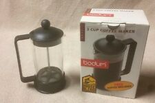 BODUM Brazil 3 Cup 12 oz French Press Coffee Maker Glass Pot Black in Box EUC
