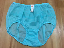 LACY VINTAGE STYLE SILKY NYLON GUSSET LACE PANTIES BRIEFS HI KNICKERS XL BLUE