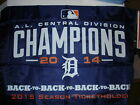 Detroit Tigers 2' x 3' Flag 4X Central Division Champions 2015 Season Ticket New