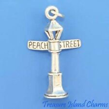 PEACH STREET LAMP POST ERIE PA 3D .925 Solid Sterling Silver Charm Pendant