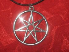 LOT OF 2 SILVER TONE 25mm  FAIRY ELVIN STAR HEPTAGRAM WICCAN PENDANTS NECKLACES