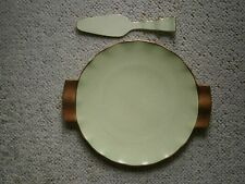 Carlton Ware Deco Large Green Plate & Server - Gold/Gilt Handles and Wavy Edge