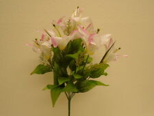 "CREAM PINK Tiger Lily Bush Satin 9 Artificial Flowers 17"" Bouquet 1855CRPK"