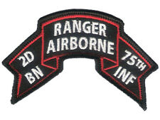 "Hook & Loop - Old style US 2nd BN Ranger Scroll - 4"" x 2 3/8"" - Merrowed Edge"