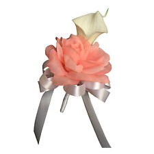 Pin/Shoulder Corsage - Natural White Calla Lily with Peach Rose - Pins included
