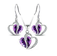Sterling Silver Heart Topaz Amethyst Pendant Necklace Drop Earrings Set Gift Box