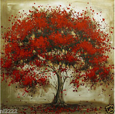 "Hand-painted Modern Abstract Oil Painting On Canvas ""Red Tree"" Wall Decor"