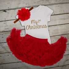 """Baby Girl """"My First Christmas"""" Tutu Dress Romper Bodysuit Outfits Christmas Gift"""