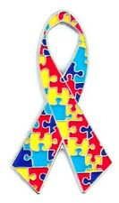 Autism Asperger Lapel Pin Multi color Puzzle Awareness Support Ribbon Tac New
