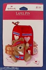 MOC HALLMARK Valentines Day PIN Mailman BEAR w CARDS Mail Carrier Holiday BROOCH