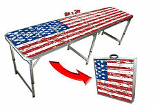 Official Size Beer Pong Table - American Flag Theme - 8 Feet Long + Portable